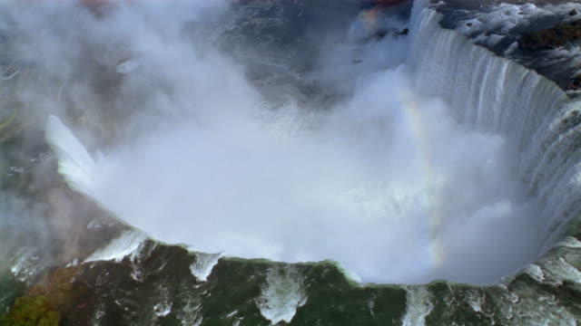aerial view of rainbow niagara falls - niagara falls stock videos & royalty-free footage