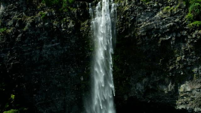 aerial view of rainforest and waterfalls maui usa - 谷点の映像素材/bロール