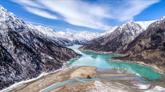 aerial view of ranwu lake - time lapse - icecap stock videos and b-roll footage