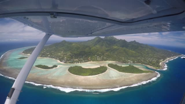 aerial view of rarotonga island cook islands - cook islands stock videos & royalty-free footage