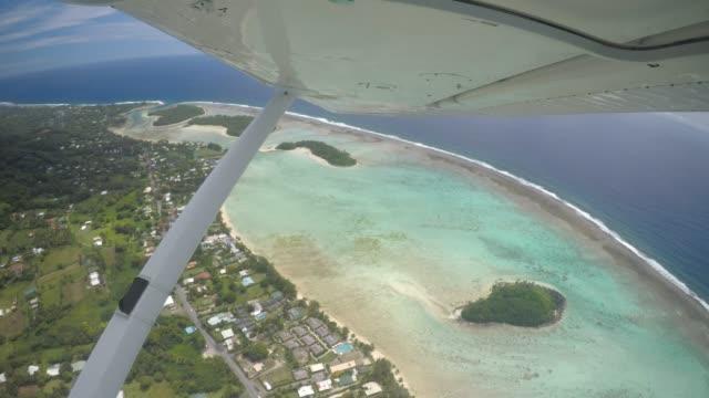 aerial view of rarotonga island cook islands - rarotonga stock videos & royalty-free footage
