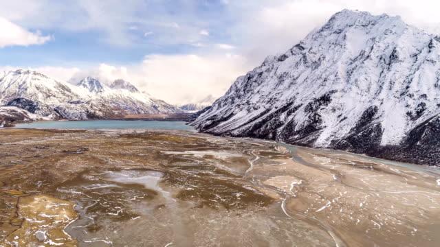 aerial view of rawu - time lapse - tibetan plateau stock videos & royalty-free footage