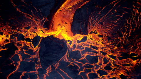 aerial view of red hot volcanic magma flowing - lava stock videos & royalty-free footage