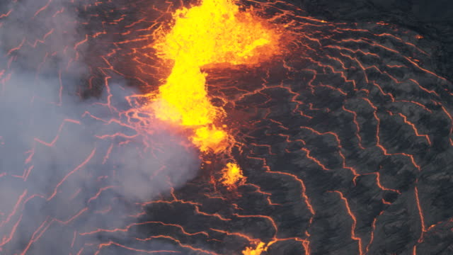 Aerial view of red hot volcanic magma spewing
