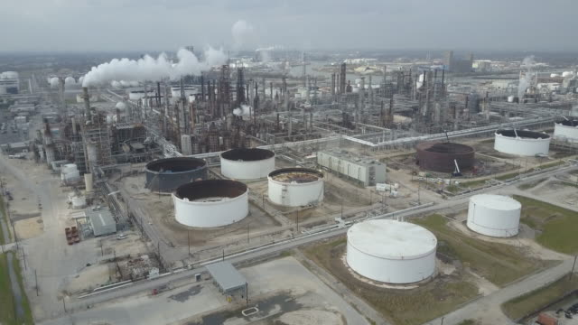 Aerial view of Refineries and Storage on the Buffalo Bayou in Houston Texas