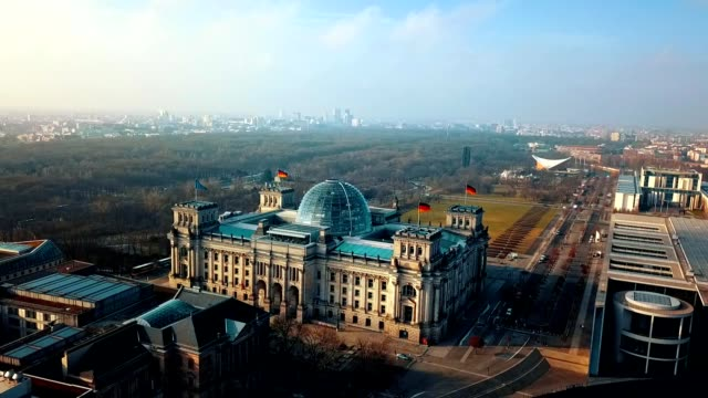 aerial view of reichstag - berlin parliament building in germany - german culture stock videos & royalty-free footage