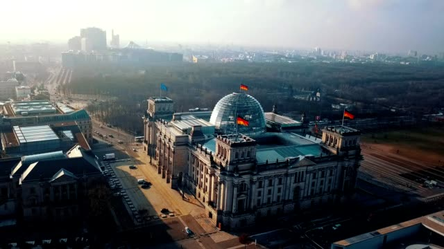 aerial view of reichstag - berlin parliament building in germany - government building stock videos & royalty-free footage