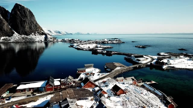 aerial view of reine in norway - northern european stock videos & royalty-free footage