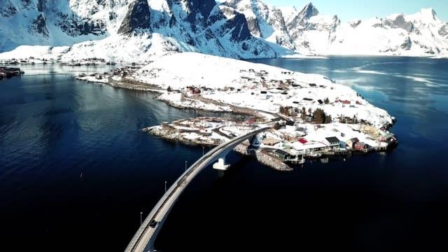 aerial view of reine in norway - traditionally norwegian stock videos & royalty-free footage