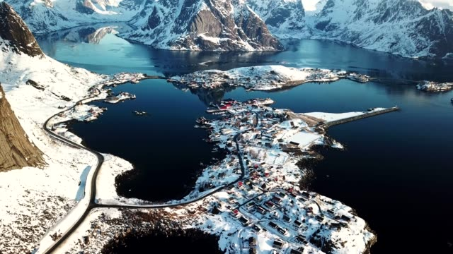 aerial view of Reine in Norway