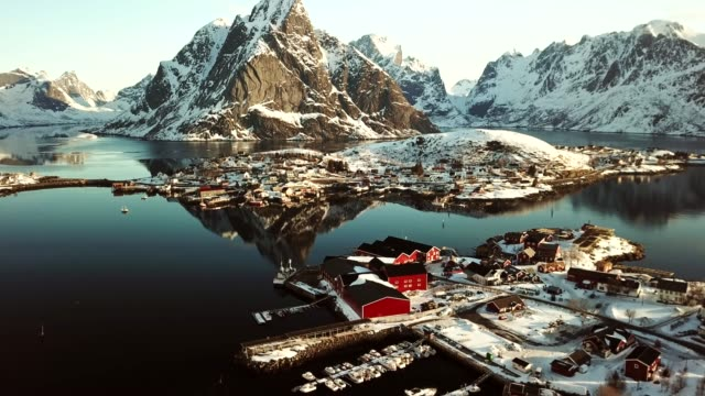 aerial view of reine in norway - shack stock videos and b-roll footage