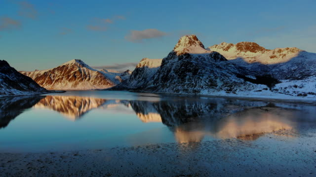 aerial view of reine landscape in norway - northern europe stock videos & royalty-free footage