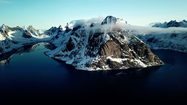 aerial view of reine landscape in norway - traditionally norwegian stock videos & royalty-free footage