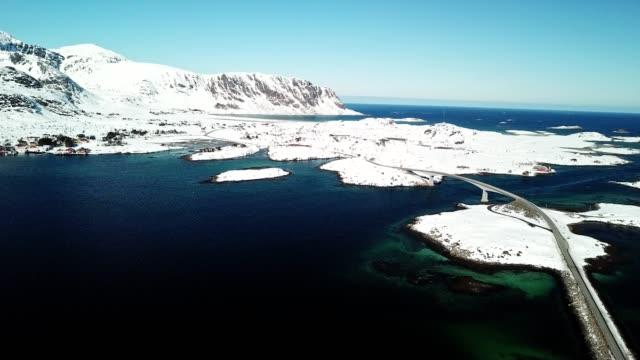 Luftaufnahme der Landschaft von Reine in Norwegen