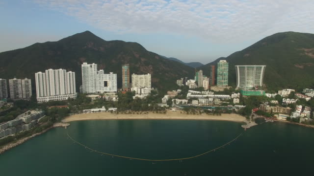 Aerial view of Repulse Bay beach and hills on Hong Kong Island