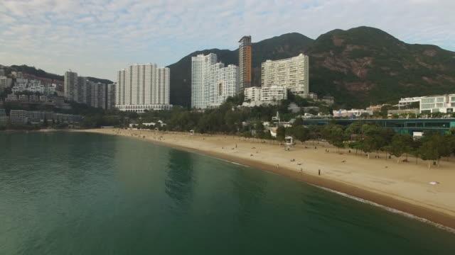 aerial view of repulse bay beach on hong kong island. - hong kong island stock videos & royalty-free footage