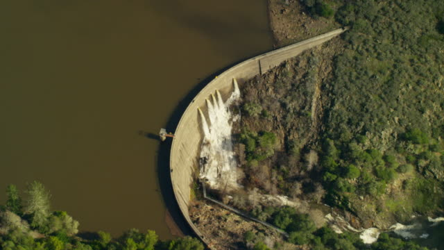 Aerial view of reservoir water dam Northern California