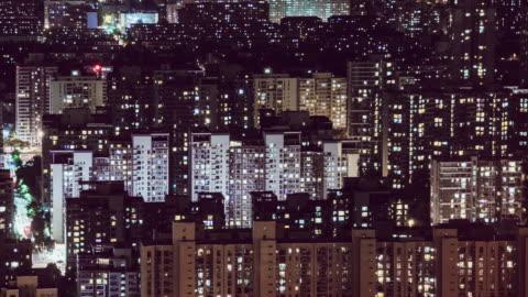 t/l tu aerial utsikt över bostadsområde på natten/peking, kina - energiproduktion bildbanksvideor och videomaterial från bakom kulisserna