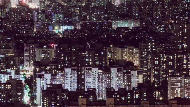 t/l ws ha pan 住宅地の空中眺め / 北京, 中国 - ます目点の映像素材/bロール