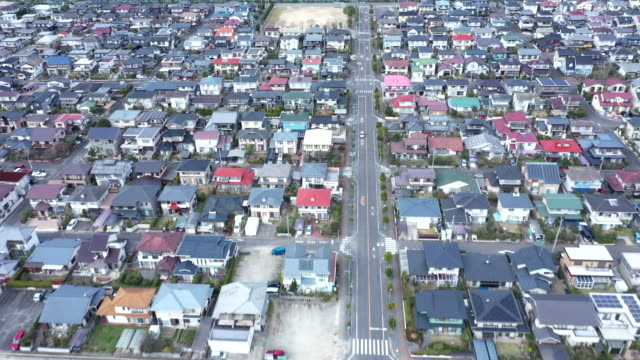 aerial view of residential area - 集合住宅点の映像素材/bロール