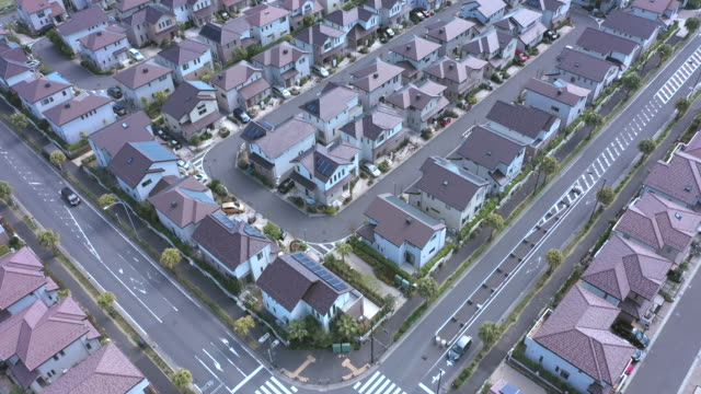 aerial view of residential area - inquadratura da un aereo video stock e b–roll