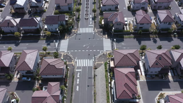 aerial view of residential area - urban road stock videos & royalty-free footage