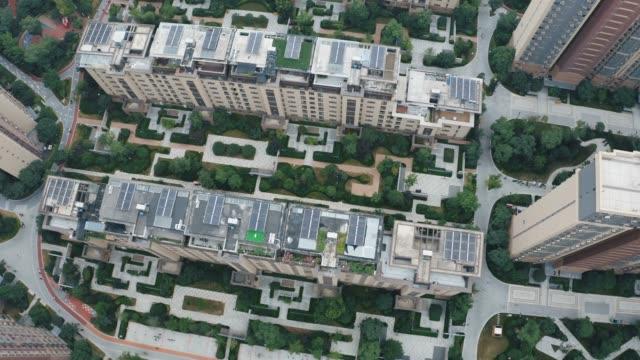 vídeos y material grabado en eventos de stock de vista aérea de la zona residencial - piso de edificio