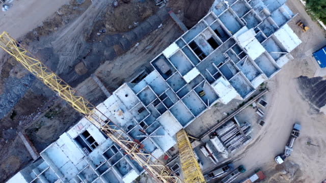 aerial view of residential building construction - construction site stock videos & royalty-free footage