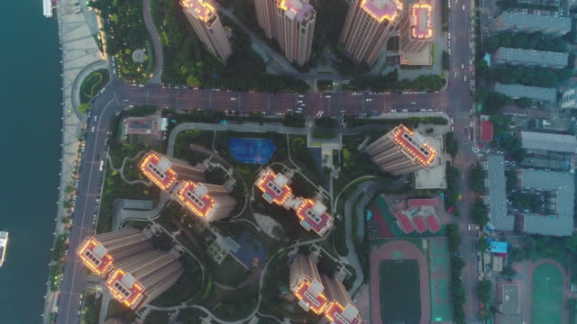 aerial view of residential building - liyao xie stock videos & royalty-free footage