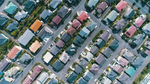 aerial view of residential district in japan - zoom in stock videos & royalty-free footage