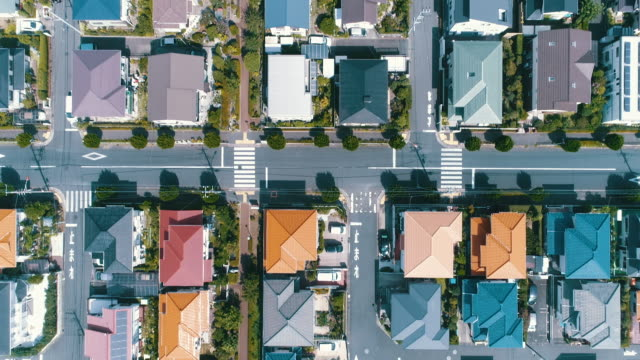aerial view of residential district in japan - town stock videos & royalty-free footage