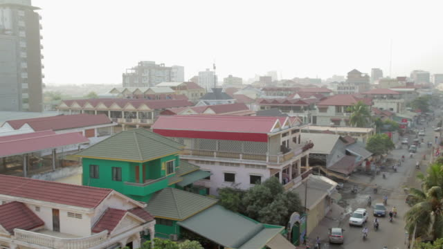 aerial view of residential district in phnom penh, cambodia - cambodia stock videos and b-roll footage