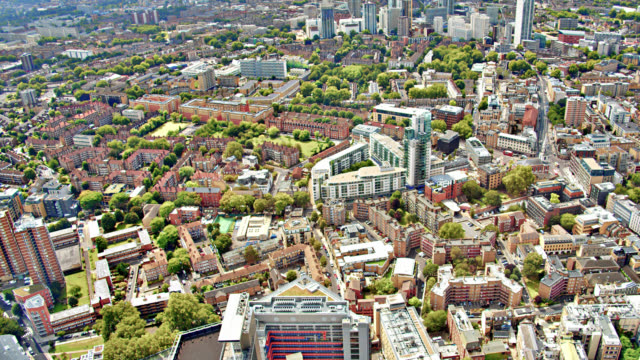aerial view of residential district london. office building. tree. - 4k resolution stock videos & royalty-free footage