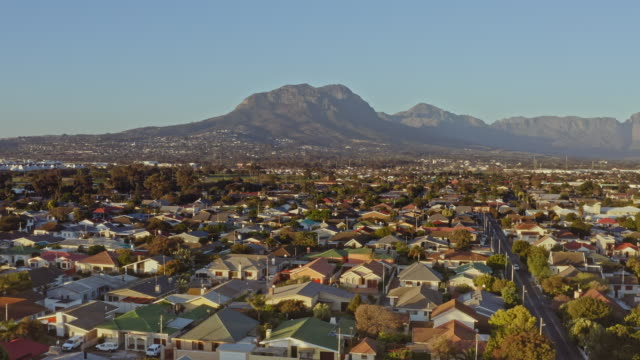 aerial view of residential district of the strand, western cape, south africa - cape town stock videos & royalty-free footage