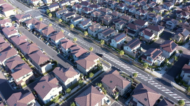 aerial view of residential district - brick house stock videos & royalty-free footage