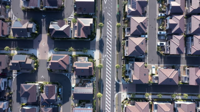 aerial view of residential district - ドローン撮影点の映像素材/bロール