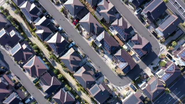 aerial view of residential district - stadtviertel stock-videos und b-roll-filmmaterial