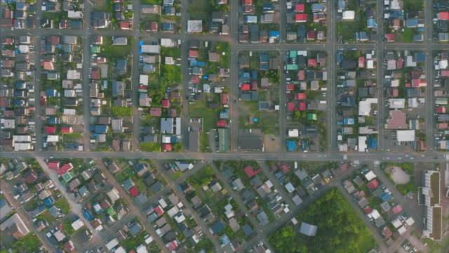 aerial view of residential district - town stock videos & royalty-free footage