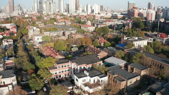 aerial view of residential district - liyao xie stock videos & royalty-free footage