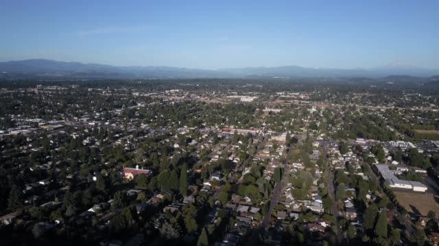 aerial view of residential streets in east portland, or - portland oregon house stock videos & royalty-free footage