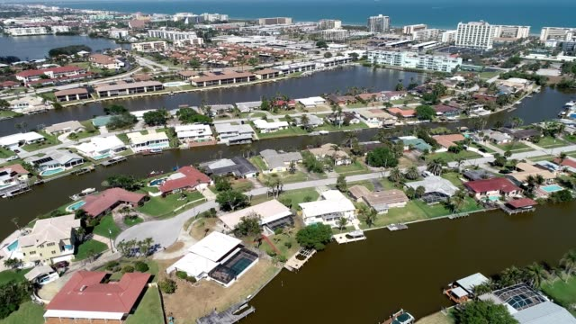 Aerial view of residential streets on river channels near Cocoa Beach Florida