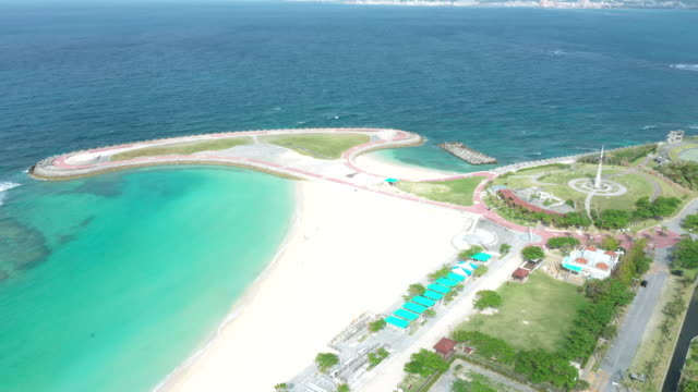 aerial view of resort beach - okinawa prefecture stock videos & royalty-free footage