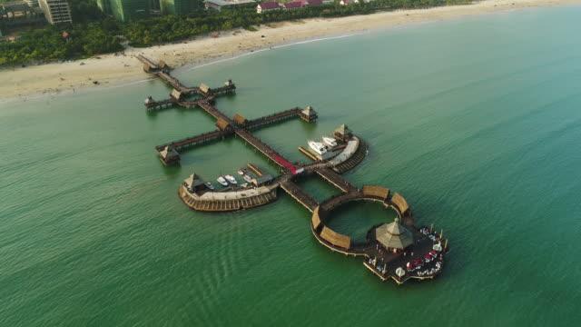 aerial view of resort in wenchang, hainan province, china - cartello di agenzia immobiliare video stock e b–roll