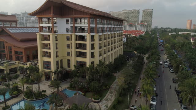 aerial view of resorts in wenchang, hainan province, china - immobilienschild stock-videos und b-roll-filmmaterial