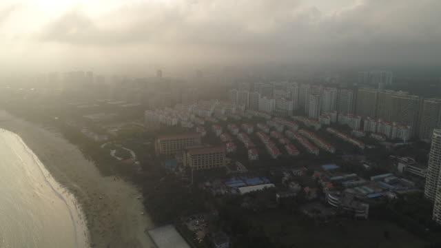 aerial view of resorts in wenchang, hainan province, china - 不動産の看板点の映像素材/bロール