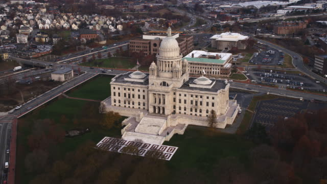 aerial view of rhode island state house. shot in 2011. - artbeats video stock e b–roll