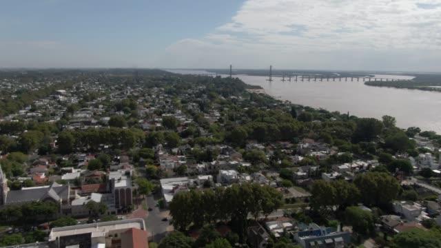 aerial view of rio parana and puente rosario-victoria - puente stock videos & royalty-free footage
