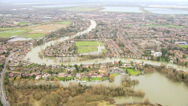 aerial view of rising floodwater southwest england uk - uk stock videos & royalty-free footage
