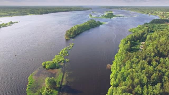 flygfoto över floden och ön i skogen - ekoturism bildbanksvideor och videomaterial från bakom kulisserna