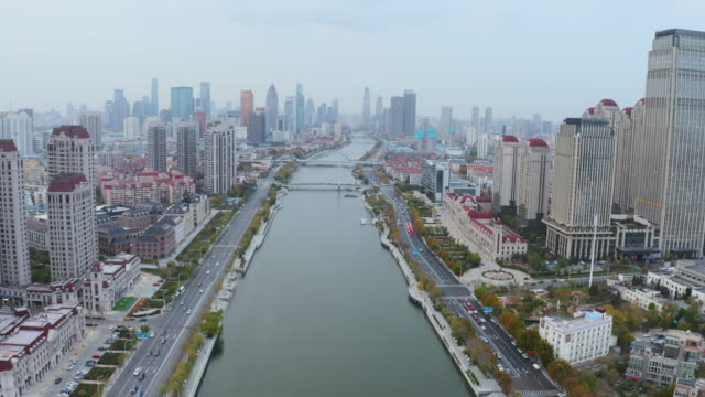 aerial view of river and skyline - b roll stock videos & royalty-free footage